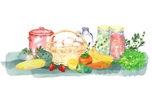 キッチンの食材水彩画のイラスト素材 [FYI04506117]