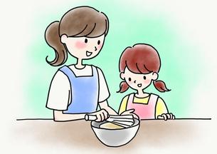 親子で料理のイラスト素材 [FYI04506154]