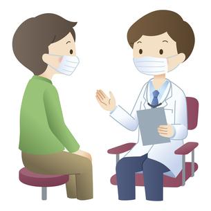 マスクをして男性患者に説明する医師のイラスト素材 [FYI04508492]