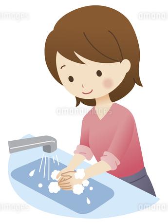 手洗いをする女性のイラスト素材 [FYI04508496]