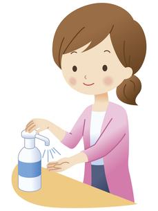 手を消毒する女性のイラスト素材 [FYI04508500]