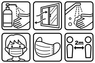 感染予防の線画アイコンのイラスト素材 [FYI04508501]