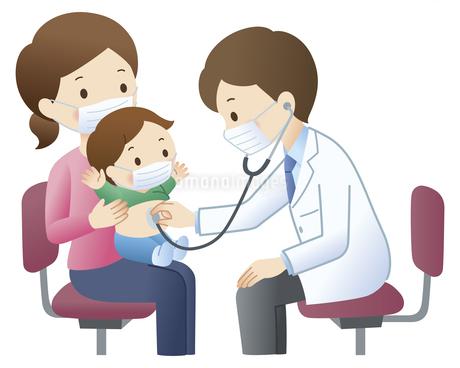 マスクをして幼児を診察する医師のイラスト素材 [FYI04508507]
