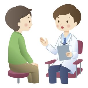 男性患者に説明する医師のイラスト素材 [FYI04508510]
