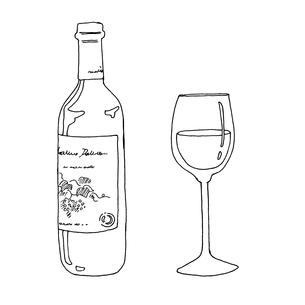 ワインボトルとグラス線画のイラスト素材 [FYI04508840]