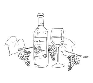 ワインと葡萄線画のイラスト素材 [FYI04508841]