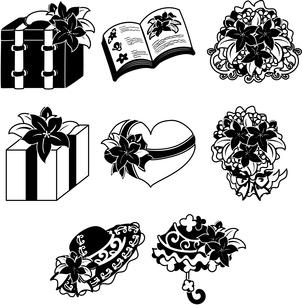 帽子や日傘などの、可愛いコスモスの雑貨の花いろいろのイラスト素材 [FYI04509380]