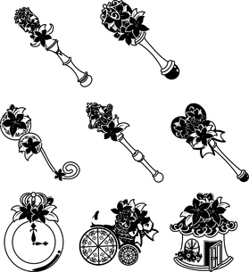 魔法の杖などの、可愛い花の雑貨のアイコンいろいろのイラスト素材 [FYI04509381]