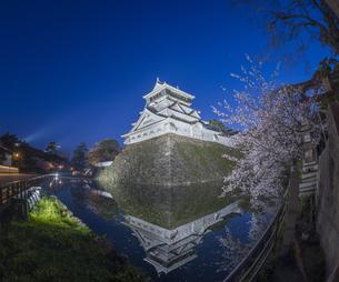 福岡県 桜 小倉城 (勝山公園) 夕景の写真素材 [FYI04510128]