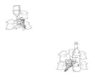 ワインと葡萄線画のイラスト素材 [FYI04510645]