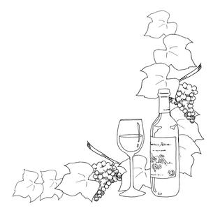 ワインと葡萄線画のイラスト素材 [FYI04511681]
