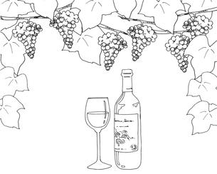ワインと葡萄線画のイラスト素材 [FYI04511682]
