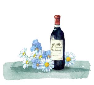 ワインとお花のイラスト素材 [FYI04511683]