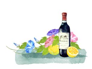 ワインとレモンと朝顔のイラスト素材 [FYI04511684]