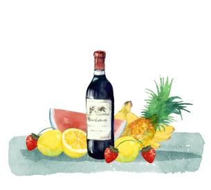 ワインと果物のイラスト素材 [FYI04511685]