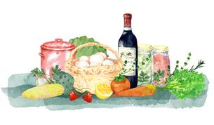 ワインと食材水彩画のイラスト素材 [FYI04511686]