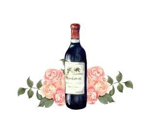 ワインと薔薇のイラスト素材 [FYI04511923]