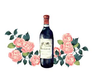 ワインと薔薇のイラスト素材 [FYI04511924]