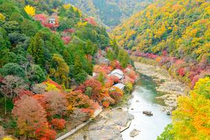 京都 紅葉の保津峡の写真素材 [FYI04512353]