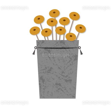 黄色のドライフラワーとブリキ缶のイラスト素材 [FYI04512360]