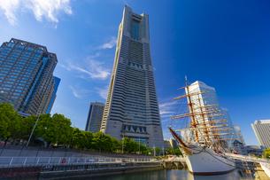 横浜ランドマークタワーと日本丸の写真素材 [FYI04513370]