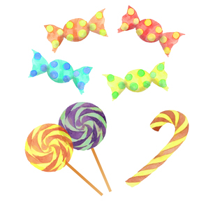 キャンディ水彩画セットのイラスト素材 [FYI04513549]