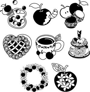 りんごのキャンディとマカロンとパイとお茶とリースと宝石のイラスト素材 [FYI04513629]