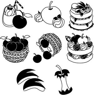 りんごのスムージーとコンポートとパンケーキとスライスのイラスト素材 [FYI04513630]