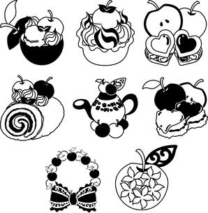 りんごのシャーベットとタルトとクッキーとロールケーキとスコーンとリースと宝石のイラスト素材 [FYI04513631]