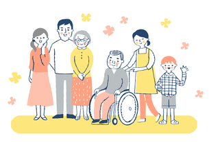 車椅子のおじいちゃんとヘルパーと家族のイラスト素材 [FYI04514628]