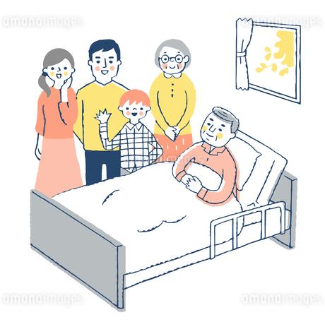 ベッドにいるおじいちゃんと家族のイラスト素材 [FYI04514688]