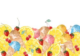 アイスクリームとフルーツのイラスト素材 [FYI04514749]
