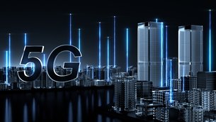 5G Futuristic technology concept. Abstract digital high tech city design background. typeAのイラスト素材 [FYI04514849]