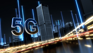5G Futuristic technology concept. Abstract digital high tech city design background. typeBのイラスト素材 [FYI04514851]