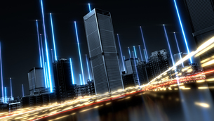 5G Futuristic technology concept. Abstract digital high tech city design background. typeB bg onlyのイラスト素材 [FYI04514852]