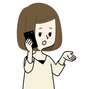 スマートフォンで通話する女性のイラスト素材 [FYI04515091]