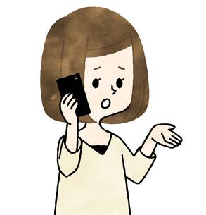 スマートフォンで通話する女性-水彩のイラスト素材 [FYI04515092]