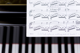 ピアノの上に置かれた楽譜の写真素材 [FYI04515474]