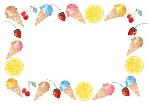 アイスとフルーツフレームのイラスト素材 [FYI04515921]