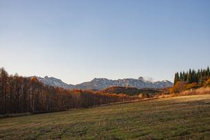 夕景の戸隠連峰の新雪と紅葉の写真素材 [FYI04515938]
