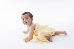 白いシーツの上で黄色いタオルをかけ起き上がろうとしている赤ちゃん。の写真素材 [FYI04516139]