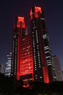 東京アラートの発令に伴い、人々に警戒を呼びかけるために赤くライトアップされた東京都庁の写真素材 [FYI04516756]