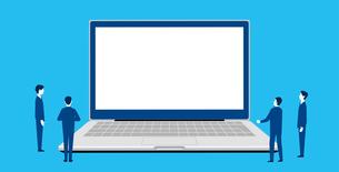 パソコンとビジネスチーム、テキストスペースのイラストのイラスト素材 [FYI04516779]