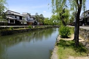 新緑,倉敷美観地区,倉敷川と伝統的建造物の写真素材 [FYI04516943]