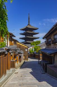 初夏の青空に聳える八坂の塔の写真素材 [FYI04517226]