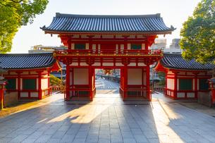 夕日を浴びる八坂神社の西楼門の写真素材 [FYI04517284]