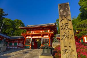夕日を浴びる八坂神社の西楼門の写真素材 [FYI04517285]