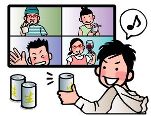 リモート飲み会のイラスト素材 [FYI04517314]