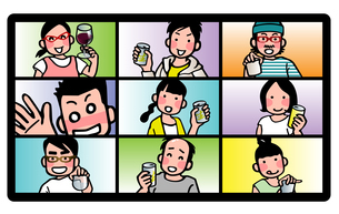 リモート飲み会のイラスト素材 [FYI04518721]