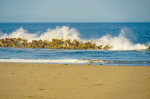 荒浜海岸の砂浜(宮城県仙台市)の写真素材 [FYI04519696]